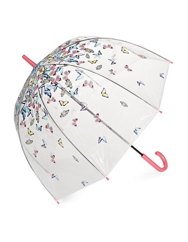 Fulton Clear Printed Walking Umbrella-WHITE-One Size