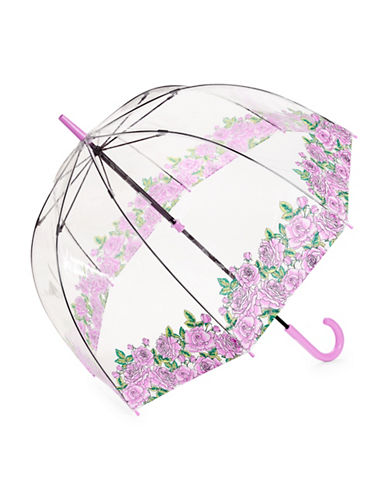 Fulton Clear Printed Walking Umbrella-ROSES-One Size