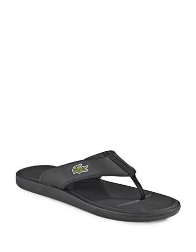 Lacoste Logo Flip Flops-BLACK-9