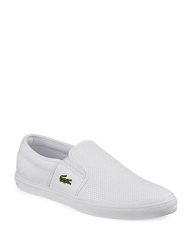 Lacoste Cam Perforated Slip-Ons-WHITE-8.5