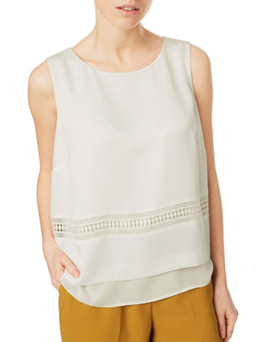 Eastex Sleeveless Trimmed Blouse-IVORY-UK 14/US 12