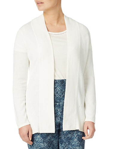 Eastex Edge To Edge Ribbed Knit Cardigan-IVORY-UK 16/US 14