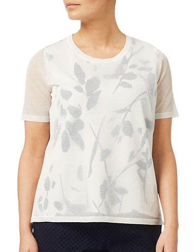 Eastex Double Layer Leaf-Print Jumper-CREAM-UK 12/US 10