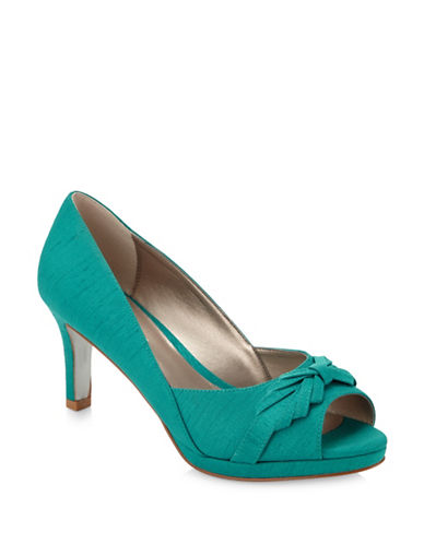 Jacques Vert Pleated Bow Pumps-GREEN-10.5