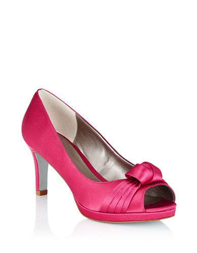 Jacques Vert Curl Trim Satin Pumps-PINK-8.5