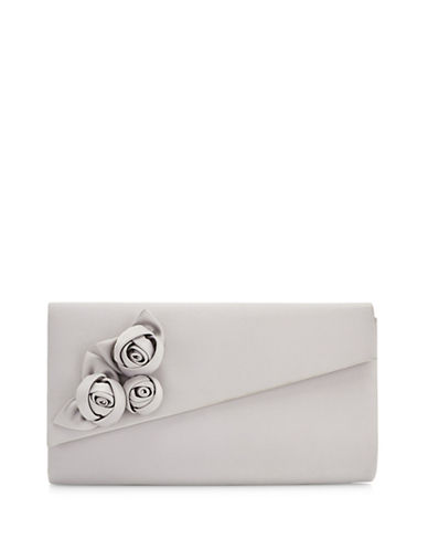 Jacques Vert Satin Flower Clutch-GREY-One Size