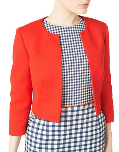 Precis Petite Collarless Cropped Jacket-BRIGHT RED-UK 12/US 10