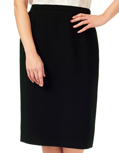 Eastex Zippered Pencil Skirt-BLACK-UK 16/US 14