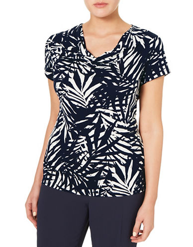 Windsmoor Palm Print Cowl Neck Top-NAVY-Medium