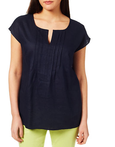 Windsmoor Linen Short-Sleeve Blouse-BLUE-UK 12/US 8