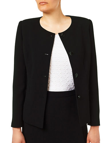 Eastex Buttoned Long Sleeve Jacket-BLACK-UK 14/US 12