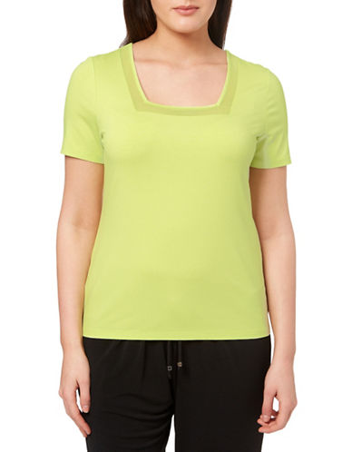 Windsmoor Sheer Insert Short-Sleeve Top-GREEN-X-Large 88321832_GREEN_X-Large