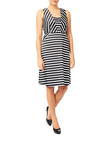Jacques Vert Striped Sheath Dress-MULTI-UK 12/US 8