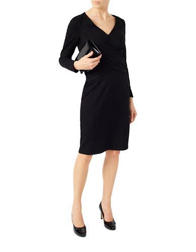Jacques Vert Ponte Cross Front Dress-BLACK-UK 14/US 10 88557347_BLACK_UK 14/US 10