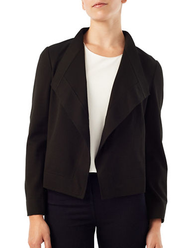 Precis Petite Solid Long Sleeve Jacket-BLACK-UK 14/US 10
