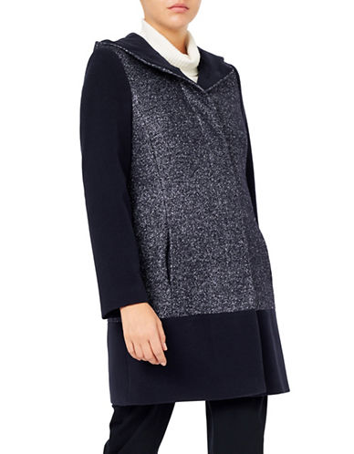 Jacques Vert Textured Block Hooded Coat-NAVY-UK 10/US 8