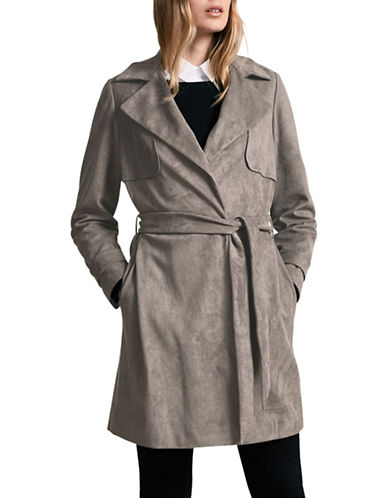 Windsmoor Suedette Trench Coat-GREY-UK 10/US 8