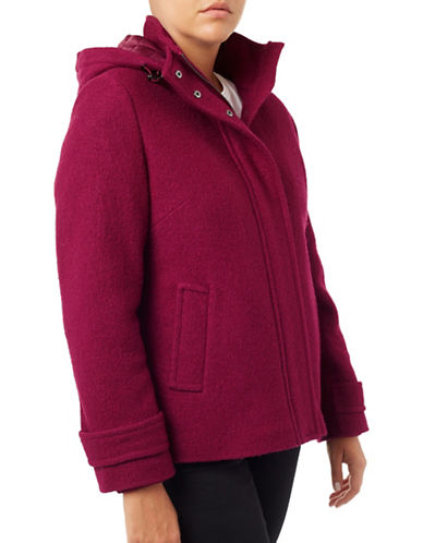 Windsmoor Boiled Wool-Blend Hooded Coat-RED-UK 10/US 6