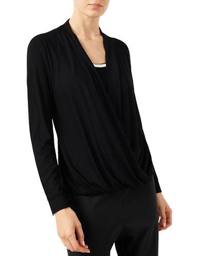Jacques Vert Jersey Drape Trim Top-BLACK-Large 88557085_BLACK_Large