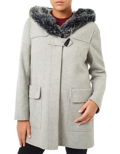 Windsmoor Faux Fur Trimmed Duffle Coat-GREY-UK 14/US 10