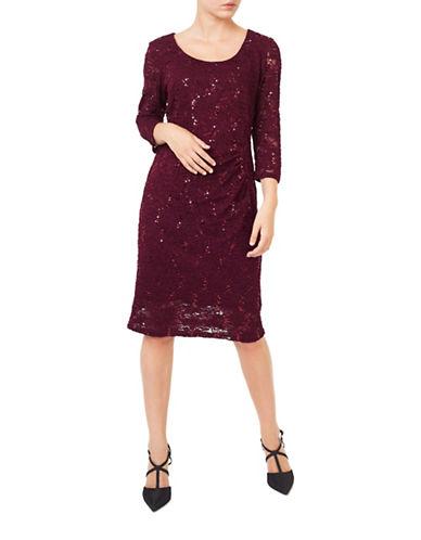 Precis Petite Hailey Sparkle Bodycon Dress-DARK RED-UK 12/US 8