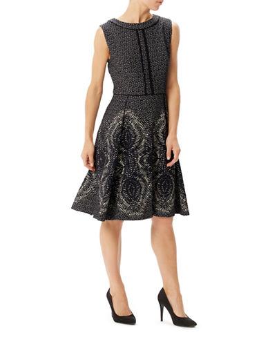 Precis Petite Jeff Banks Mono Jacquard Fit-and-Flare Dress-BLACK-UK 12/US 8