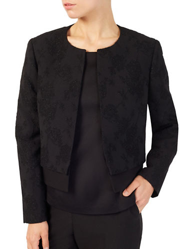 Jacques Vert Petite Textured Jacket-BLACK-UK 20/US 16