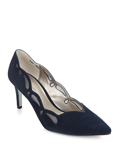 Jacques Vert Laser Cut Suede Shoes-BLUE-9.5