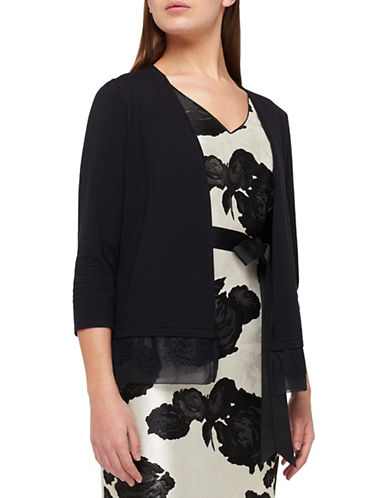 Jacques Vert Lace-Trimmed Knit Cardigan-BLACK-X-Large