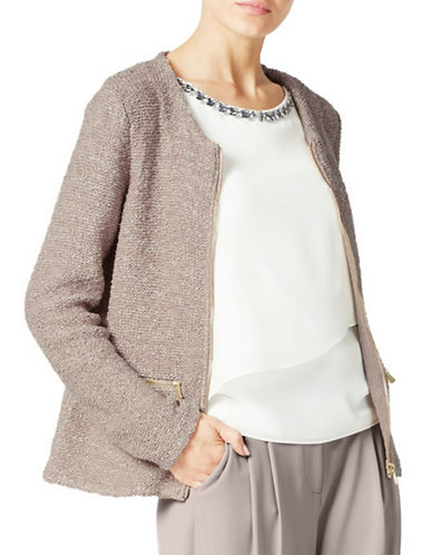 Jacques Vert Zip-Front Sparkle Knit Jacket-BROWN-Small 88942631_BROWN_Small