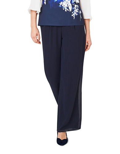 Jacques Vert Chiffon Straight-Fit Trousers-NAVY-UK 8/US 6