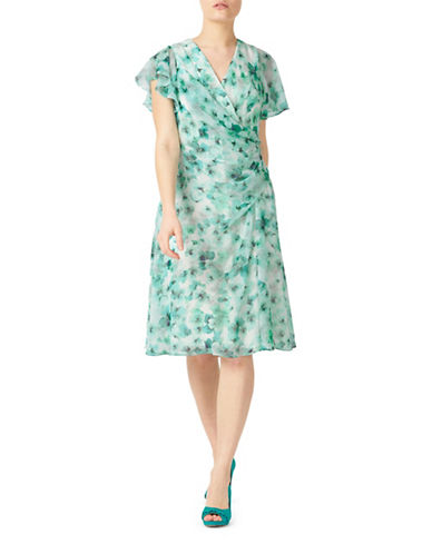 Jacques Vert Dreamy Floral Fit-And-Flare Dress-GREEN-UK 8/US 6