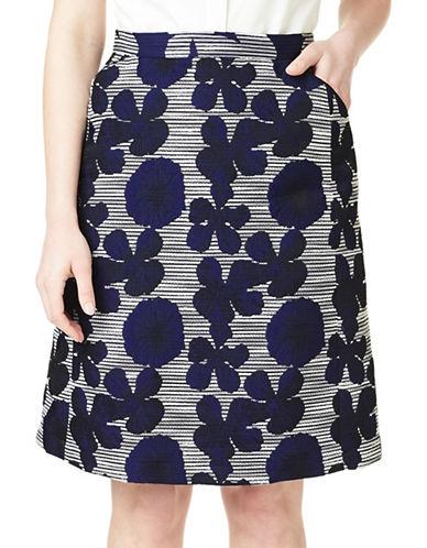 Precis Petite Elena Jacquard Skirt-NAVY/SILVER-UK 18/US 16