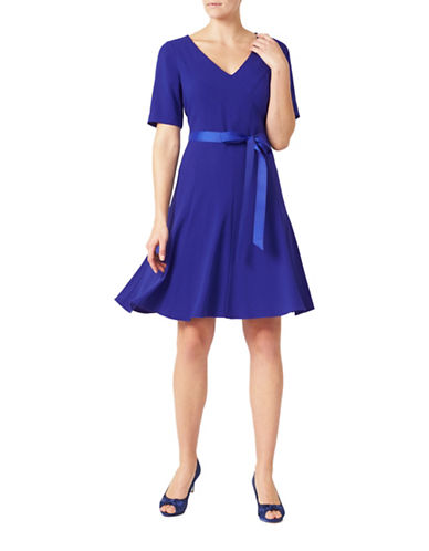 Jacques Vert Crepe Fit-And-Flare Dress-BLUE-UK 10/US 6