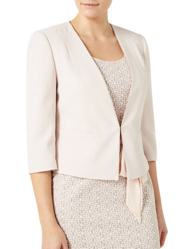 Jacques Vert Angled Edge To Edge Jacket-NEUTRAL-UK 14/US 12