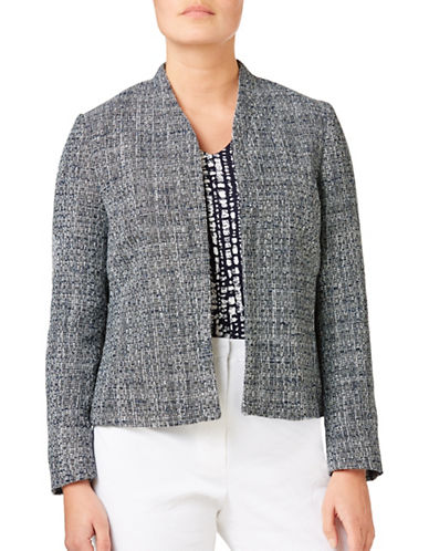 Eastex Textured Tweed Jacket-MULTI BLUE-UK 20/US 18