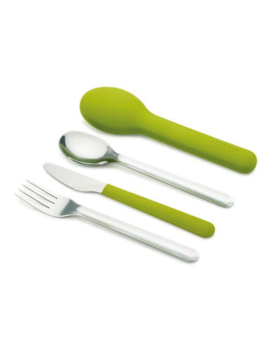 Joseph Joseph Four-Piece Go Eat Stainless Steel Cutlery and Case-GREEN-One Size