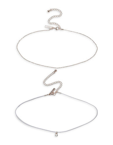 Topshop Two-Pack Rose Goldtone Choker Necklaces-GREY-One Size