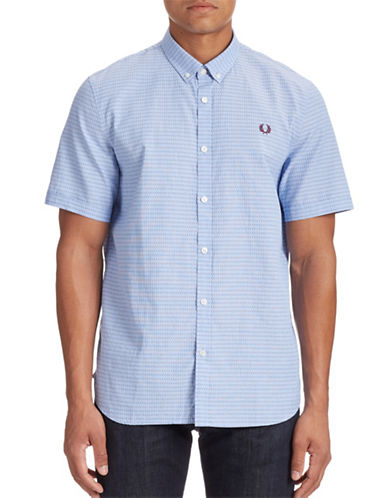 Fred Perry Polka Dot Short-Sleeve Shirt-TURQUOISE-X-Large