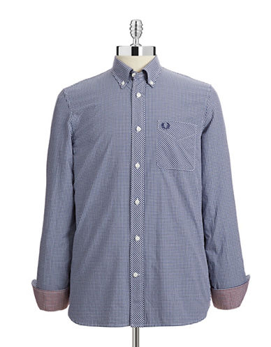 Fred Perry Classic Gingham Sport Shirt-BLUE-X-Large