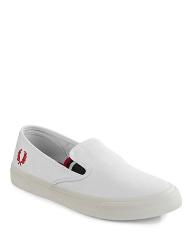 Fred Perry Canvas Slip-On Sneakers-WHITE-9
