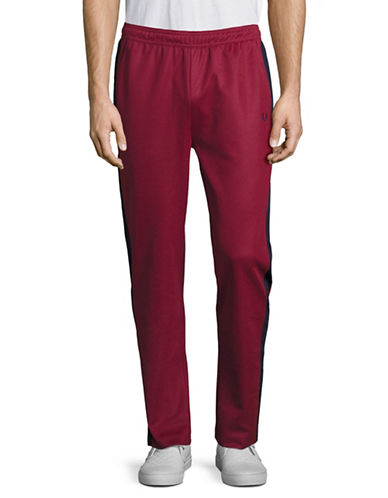 Fred Perry Contrast Track Panel Pants-MAROON-Medium