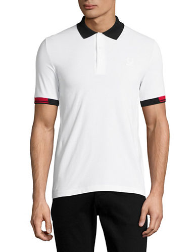 Fred Perry X Raf Simons Tipped Cuff Pique Polo-WHITE-Medium/Large