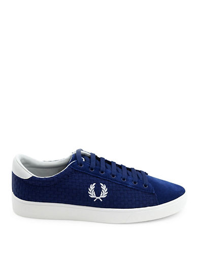 Fred Perry Spencer Woven Checkerboard Sneakers-NAVY-UK 8/US 9