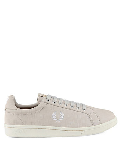Fred Perry B721 Checkerboard Leather Tennis Shoes-NATURAL-UK 7/US 8