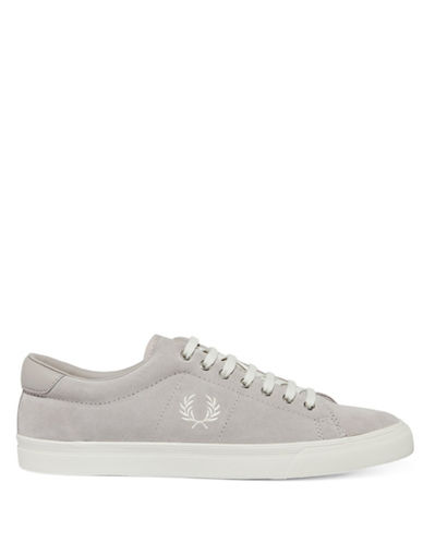 Fred Perry Underspin Suede Sneakers-SILVER-UK 10/US 11