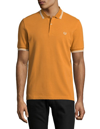 Fred Perry Tipped Pique Cotton Polo-ORANGE-Medium