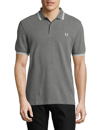 Fred Perry Tipped Pique Cotton Polo-GREY-Small