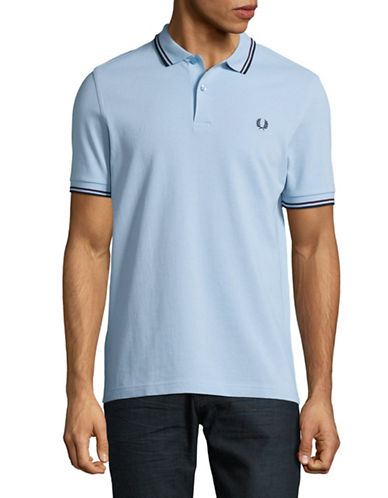 Fred Perry Tipped Pique Cotton Polo-LIGHT BLUE-Large