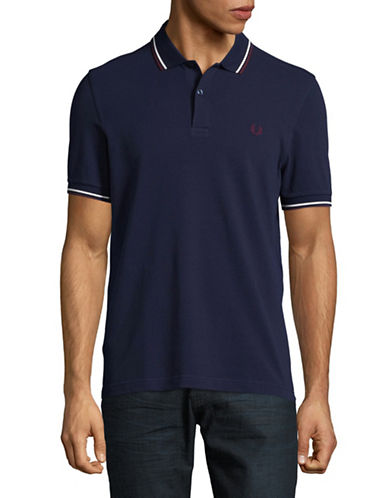 Fred Perry Tipped Pique Cotton Polo-NAVY BLUE-Large